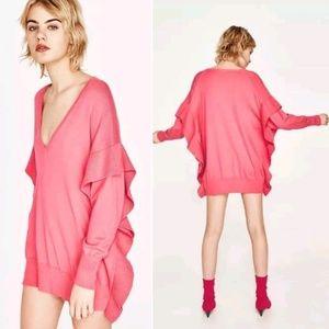 Zara Knit Flouce Ruffle Sleeve Sweater